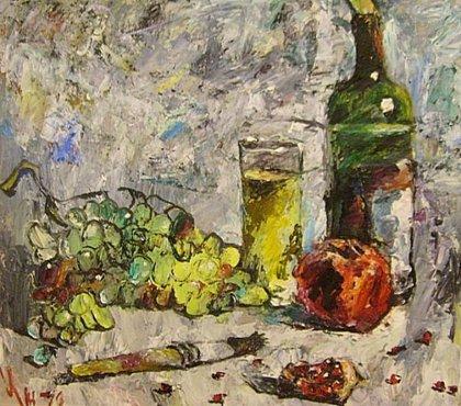 Вино, виноград, гранат и кисть